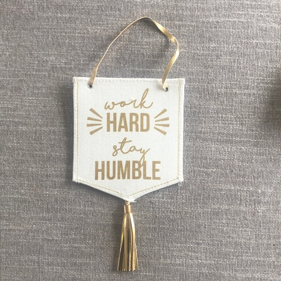 """Urban Outfitters """"Work Hard"""" Gold wall hanging"""